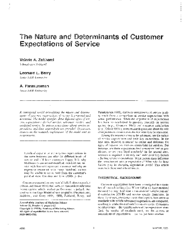 PDF) The Nature and Determinants of Customer Expectations of Service