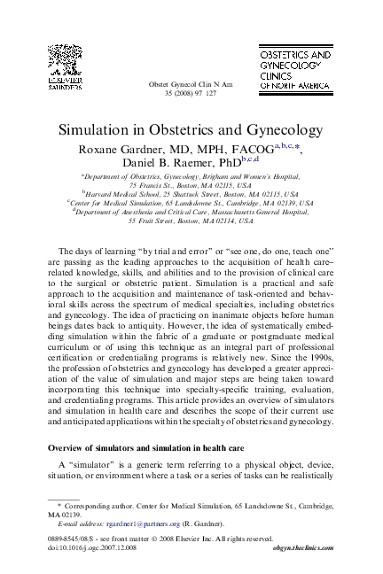 PDF) Simulation in Obstetrics and Gynecology   Roxane