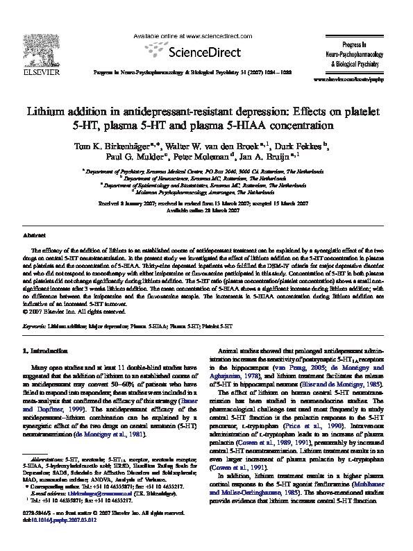 PDF) Lithium addition in antidepressant-resistant depression