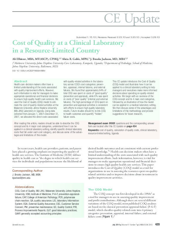 PDF) Cost of Quality at a Clinical Laboratory in a Resource-Limited