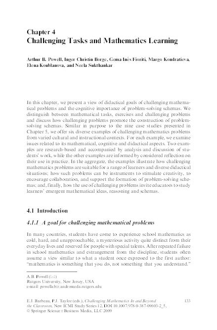PDF) Challenging Tasks and Mathematics Learning | Arthur B  Powell