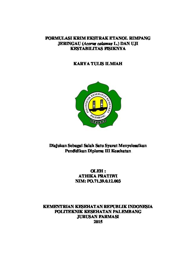 Pdf Kti 2015 Poltekkes Kemenkes Palembang Jurusan Farmasi Nyimas Athika Academia Edu