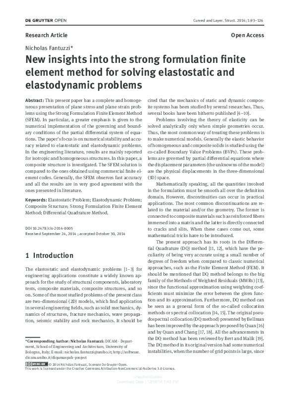 PDF) New insights into the strong formulation finite element method