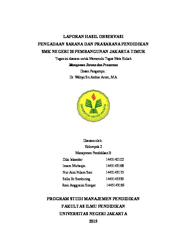 Pdf Laporan Hasil Observasi Pengadaan Sarana Dan Prasarana Smk Negeri 26 Jakarta Nur Aini Nilam Sari Academia Edu