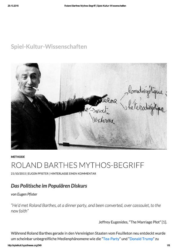 Roland Barthes Mythos