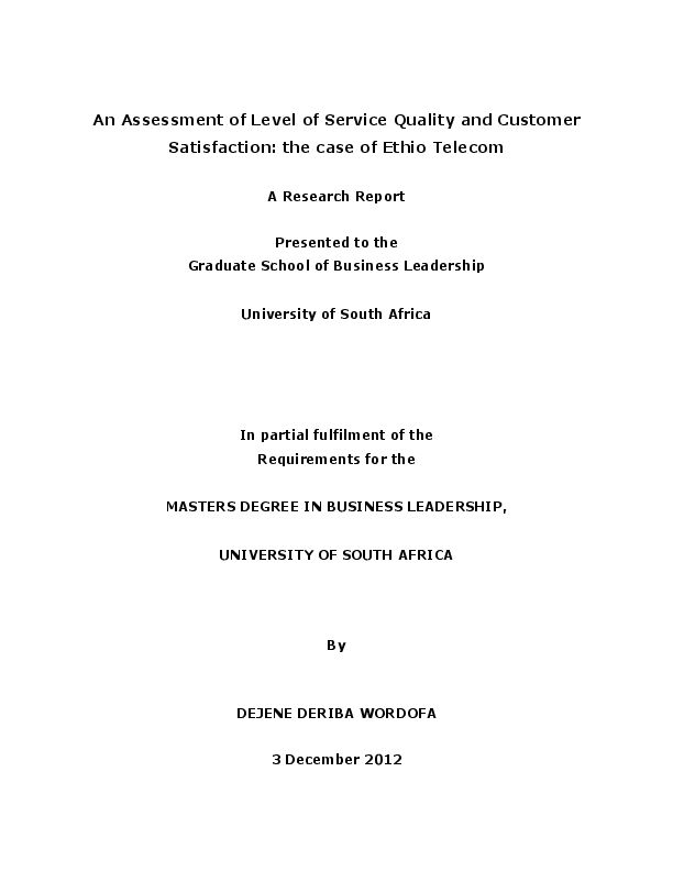 PDF) An Assessment of Level of Service Quality and Customer