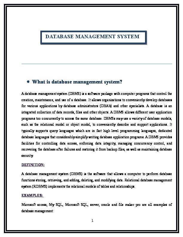 DOC) Term paper on Database Management System | Imtiaz Rashid