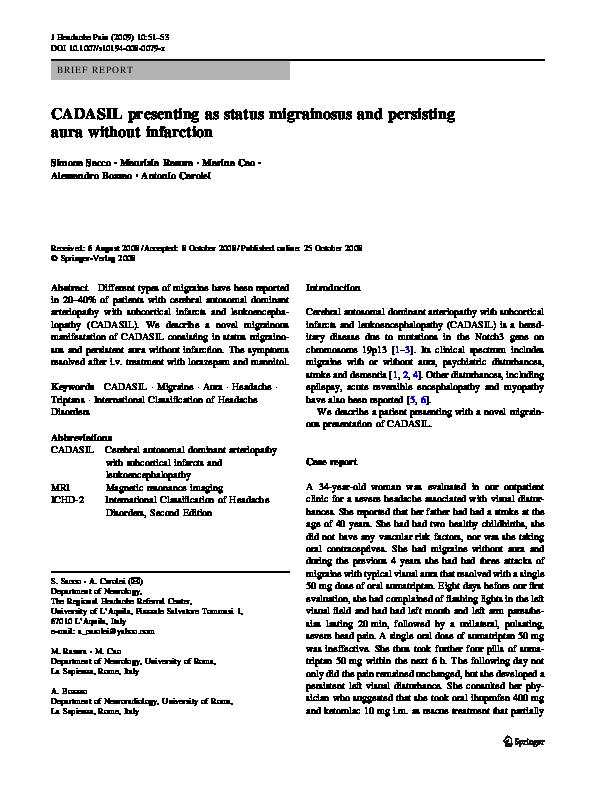 PDF) CADASIL presenting as status migrainosus and persisting