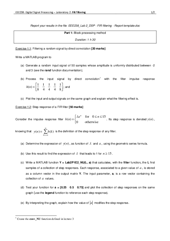 PDF) Lab 2 - Digital Signal Processing  FIR Filtering