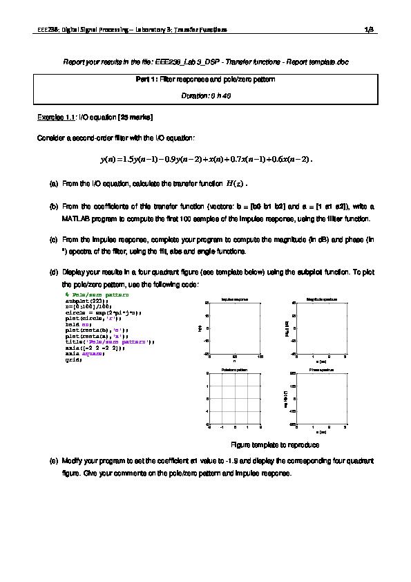 PDF) Lab 3 - Digital Signal Processing  Transfer Functions