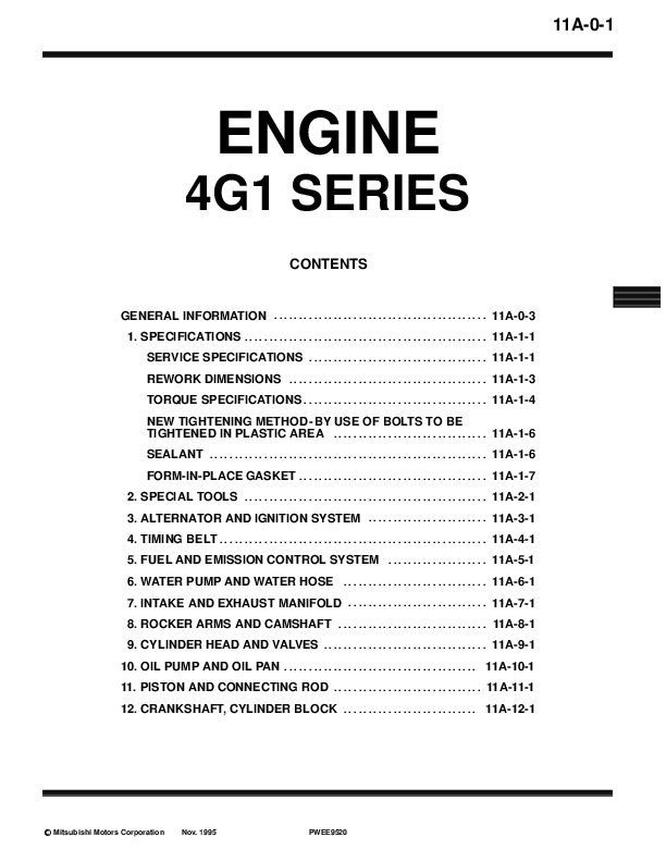 PDF) ENGINE Workshop Manual 4G1 (E-W | Franck Carazas