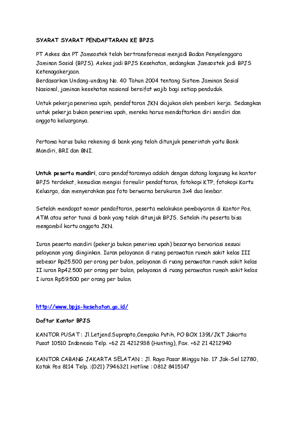 Doc Bpjs Syarat Daftar Idah Komariah Academia Edu