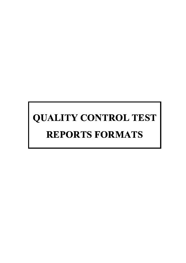 PDF) 02 QUALITY CONTROL TEST REPORTS FORMATS | rajaram mudunuru