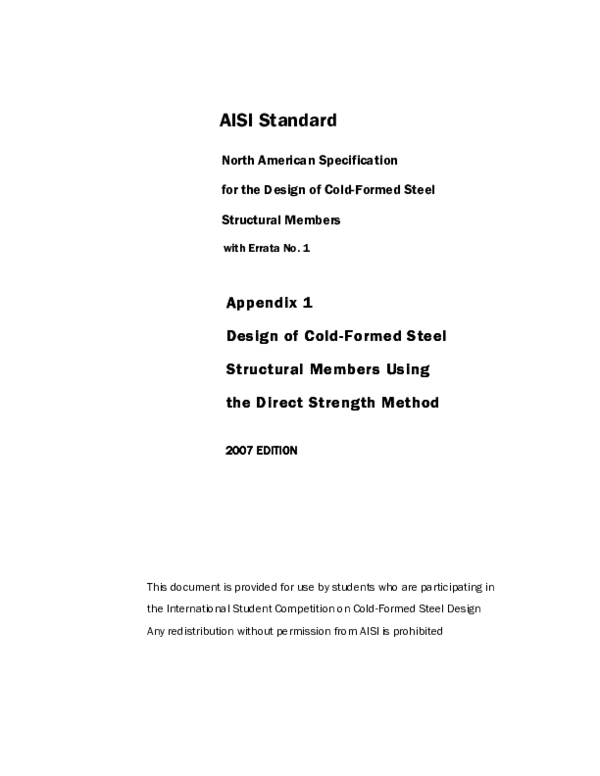 PDF) AISI S100 07 coldformed | emre dugan - Academia edu