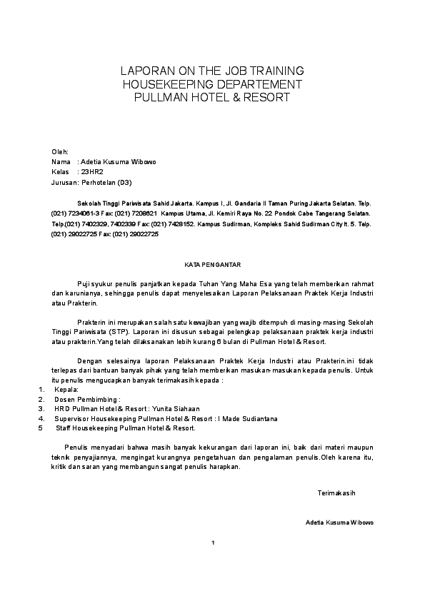 Contoh Laporan Training Housekeeping Di Hotel Kumpulan Contoh Laporan