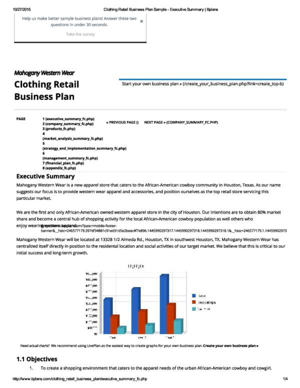 PDF) Clothing Retail Business Plan Sample - Executive Summary