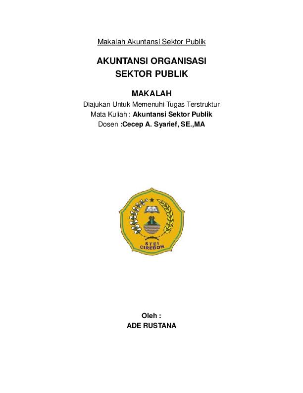 Doc Makalah Akuntansi Sektor Publik Artona Tona Academia Edu