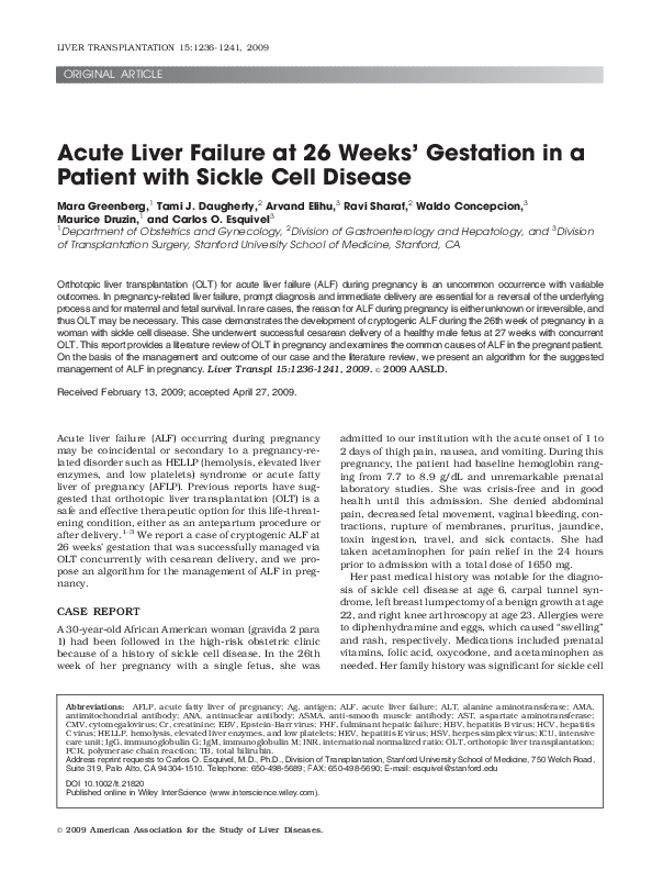 PDF) Acute liver failure at 26 weeks' gestation in a patient
