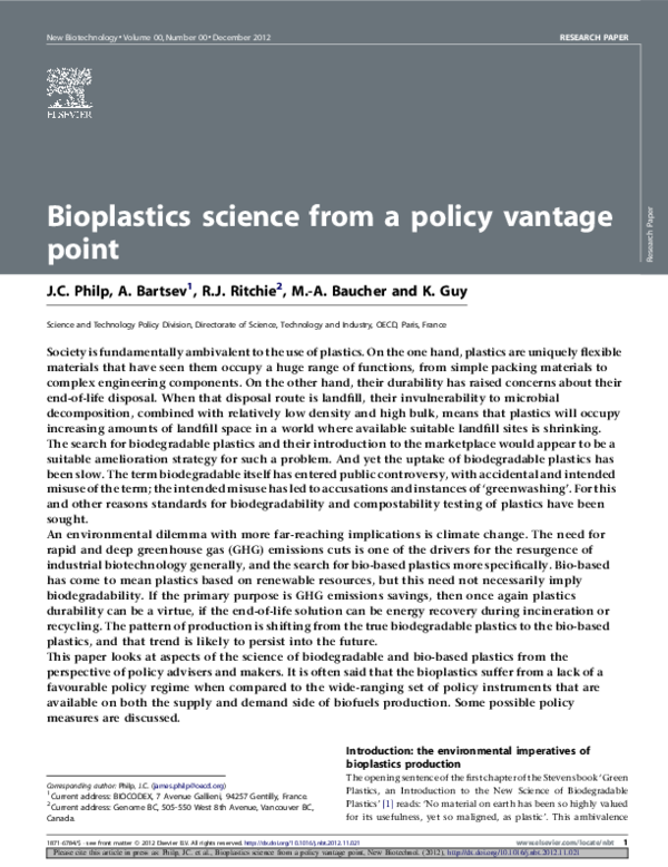 PDF) Bioplastics science from a policy vantage point | Ken