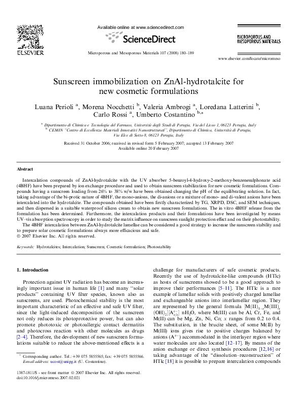 PDF) Sunscreen immobilization on ZnAl-hydrotalcite for new