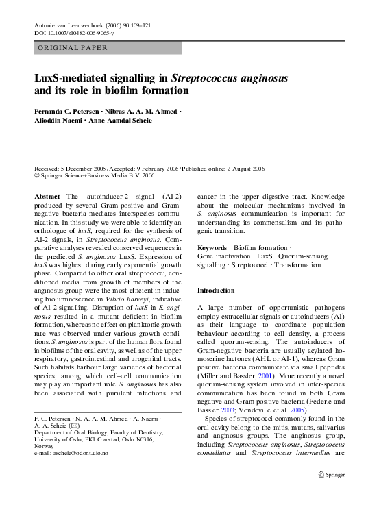 PDF) LuxS-mediated signalling in Streptococcus anginosus and
