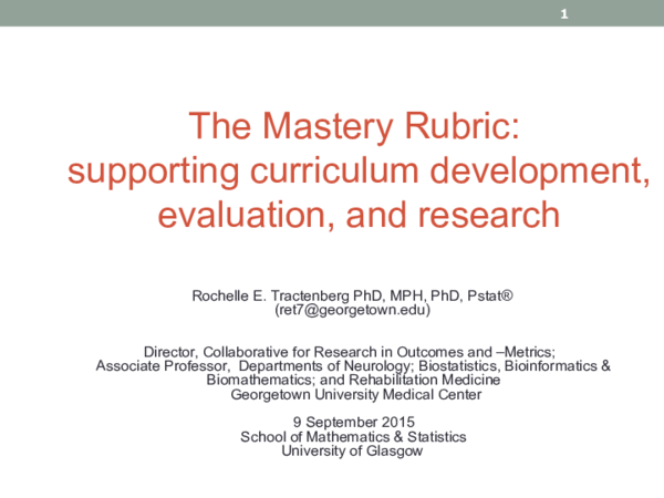 PPT) The Mastery Rubric: supporting curriculum development