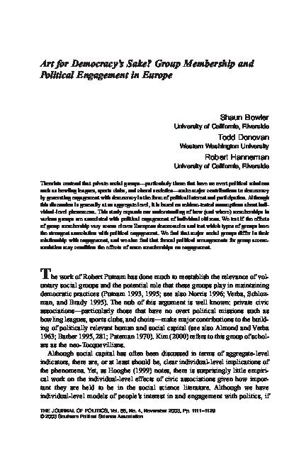 PDF) Art for Democracy's Sake? Group Membership and