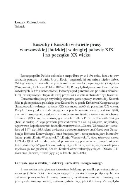 Pdf Kaszuby I Kaszubi W świetle Prasy Warszawskiej