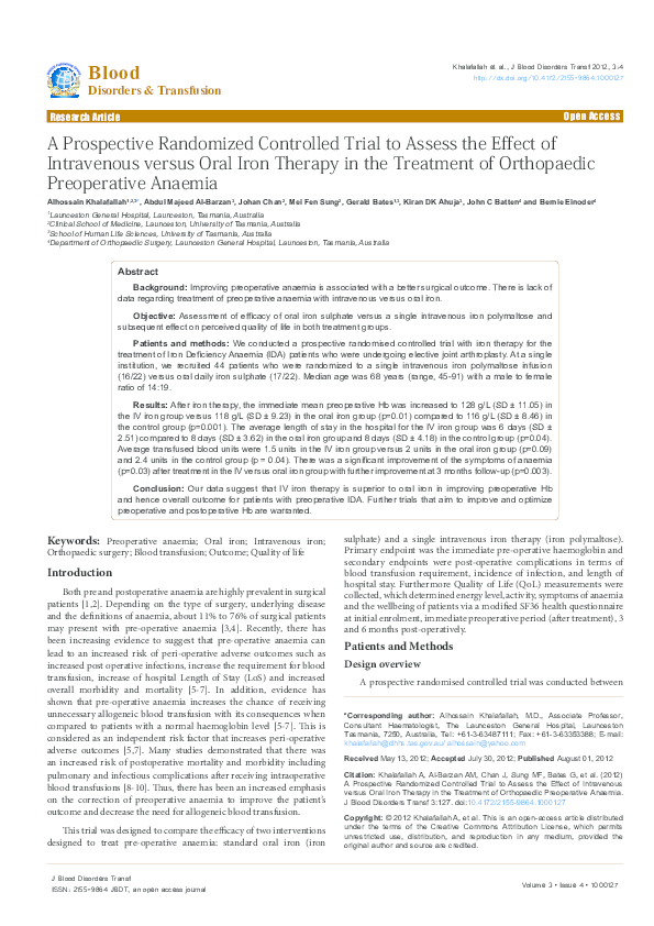 PDF) A Prospective Randomized Controlled Trial to Assess the