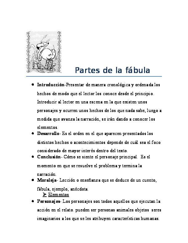 Doc Partes De Una Fábula Asantiago Lugo Academia Edu