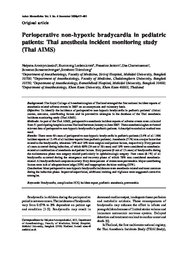 PDF) Perioperative non-hypoxic bradycardia in pediatric