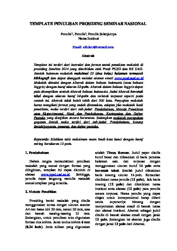 Doc Contoh Template Prosiding Fani Handayani Academia Edu