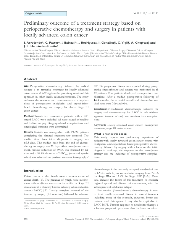 Pdf Preliminary Outcome Of A Treatment Strategy Based On Perioperative Chemotherapy And Surgery In Patients With Locally Advanced Colon Cancer Jorge Baixauli Academia Edu