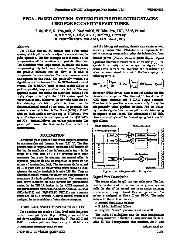 PDF) FPGA - based control system for piezoelectric stacks