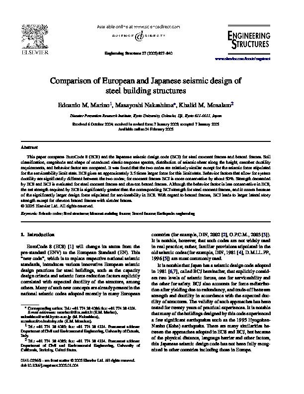 PDF) Comparison of European and Japanese seismic design of