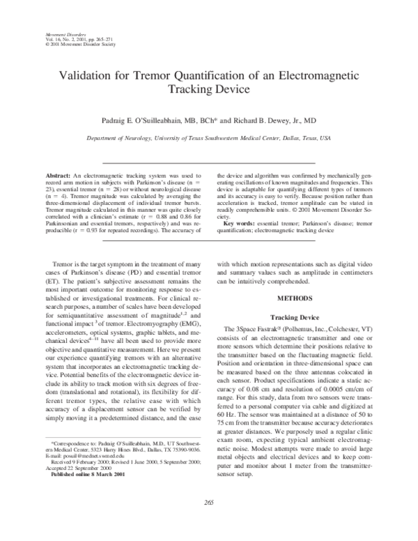 PDF) Validation for tremor quantification of an