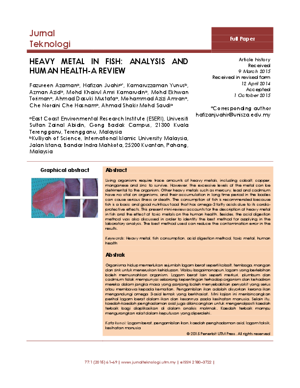 PDF) HEAVY METAL IN FISH: ANALYSIS AND HUMAN HEALTH-A REVIEW | Azman