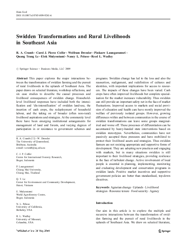 PDF) Swidden Transformations and Rural Livelihoods in Southeast Asia