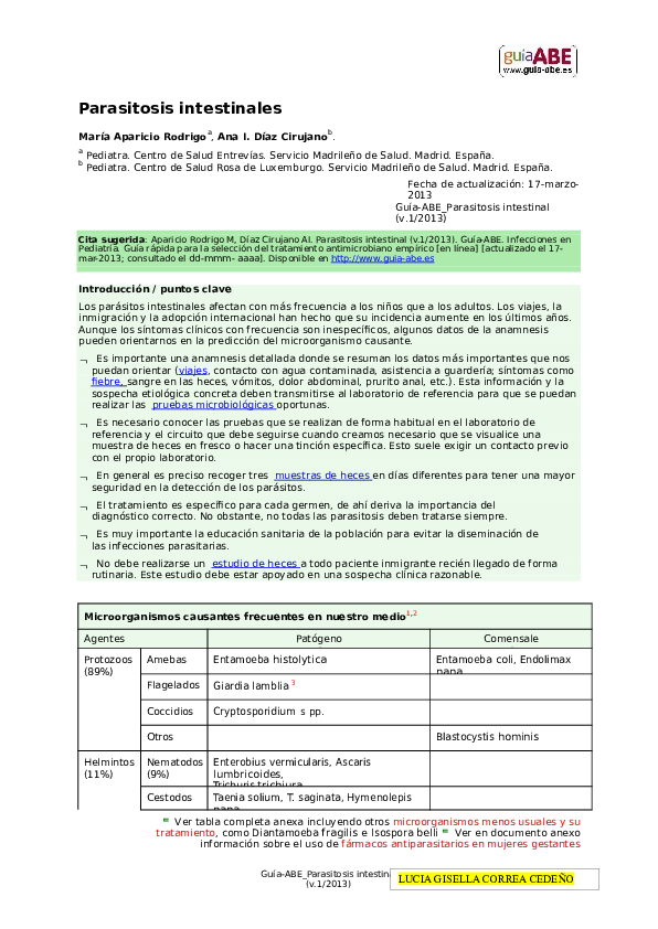 blastocystis hominis tratamiento en niños pdf