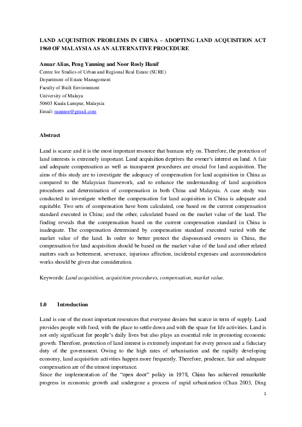Pdf Land Acquisition Problems In China Adopting Land Acquisition Act 1960 Of Malaysia As An Alternative Procedure Noor Hanif Academia Edu