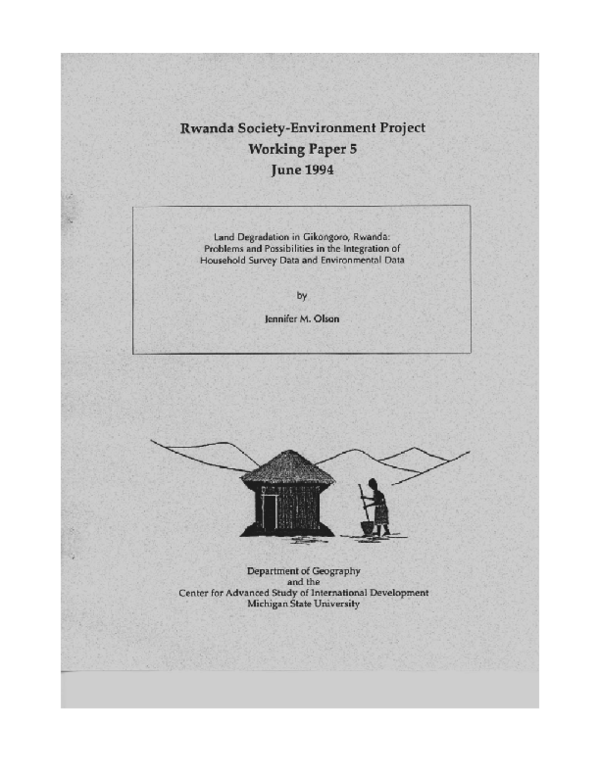 PDF) Land Degradation in Gikongoro, Rwanda: Problems and