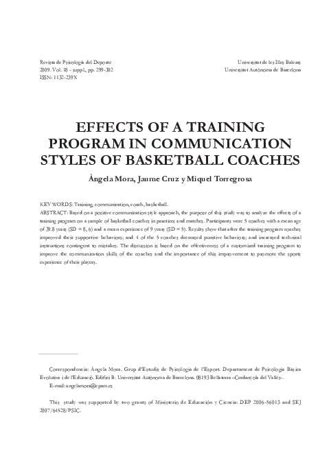 PDF) EFFECTS OF A TRAINING PROGRAM IN COMMUNICATION STYLES