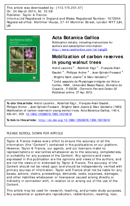 PDF) Mobilization of carbon reserves in young walnut trees