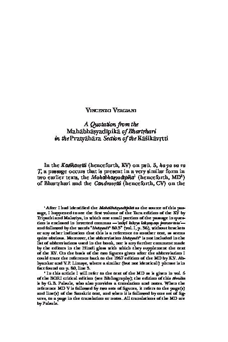 PDF) A Quotation from the Mahābhāṣyadīpikā of Bhartṛhari in