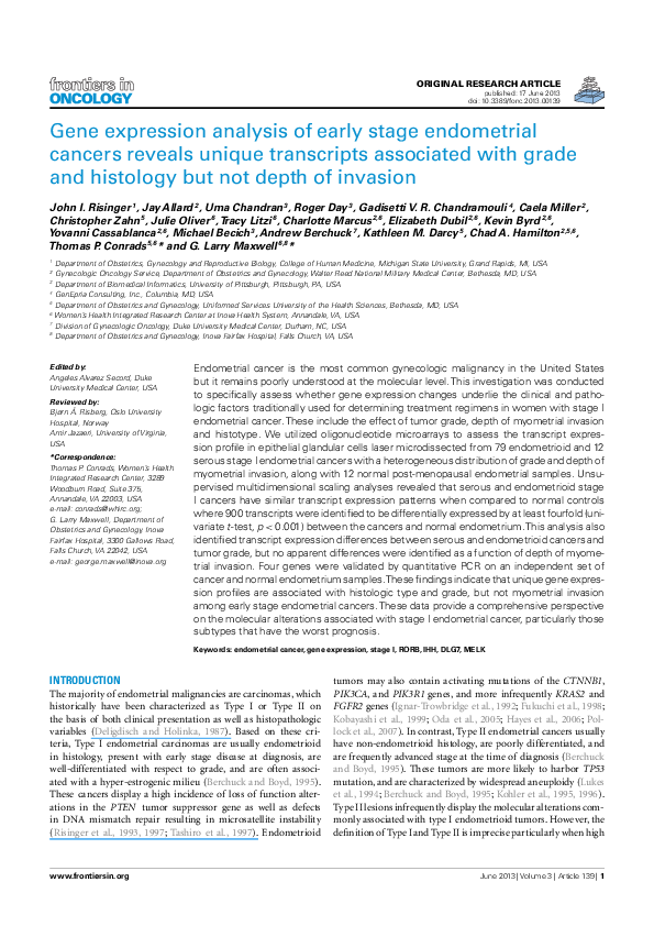 PDF) Gene Expression Analysis of Early Stage Endometrial