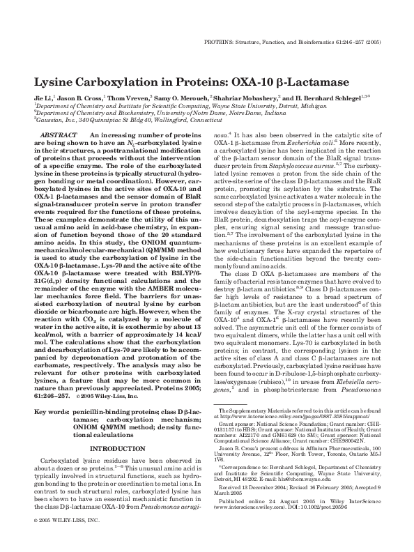 PDF) Lysine carboxylation in proteins: OXA-10 β-lactamase