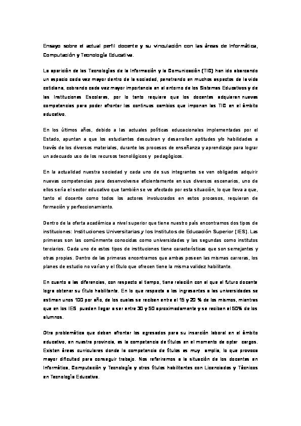 Doc Ensayo Sobre El Actual Perfil Docente Y Su Vinculacion Con Las Areas De Informatica Computacion Y Tecnologia Educativa Analia Ance Academia Edu