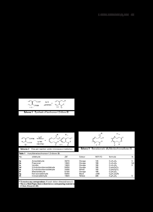 PDF) Synthesis of 4-arylideneisochroman-1,3-dione under