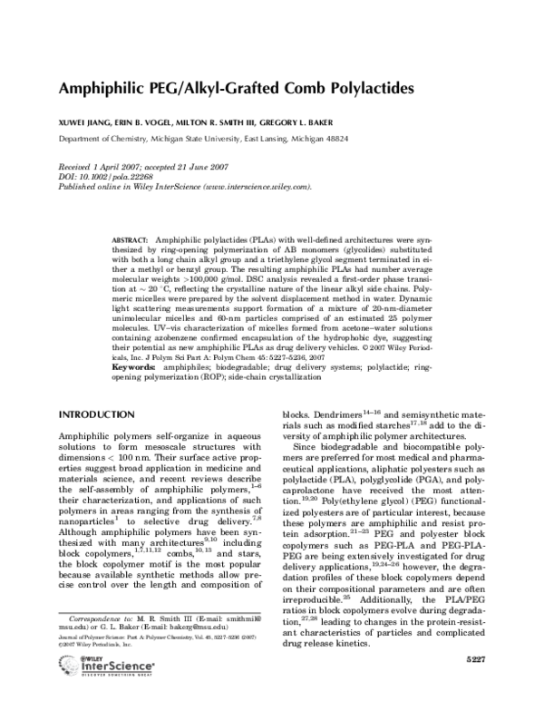 PDF) Amphiphilic PEG/alkyl-grafted comb polylactides   Milton Smith