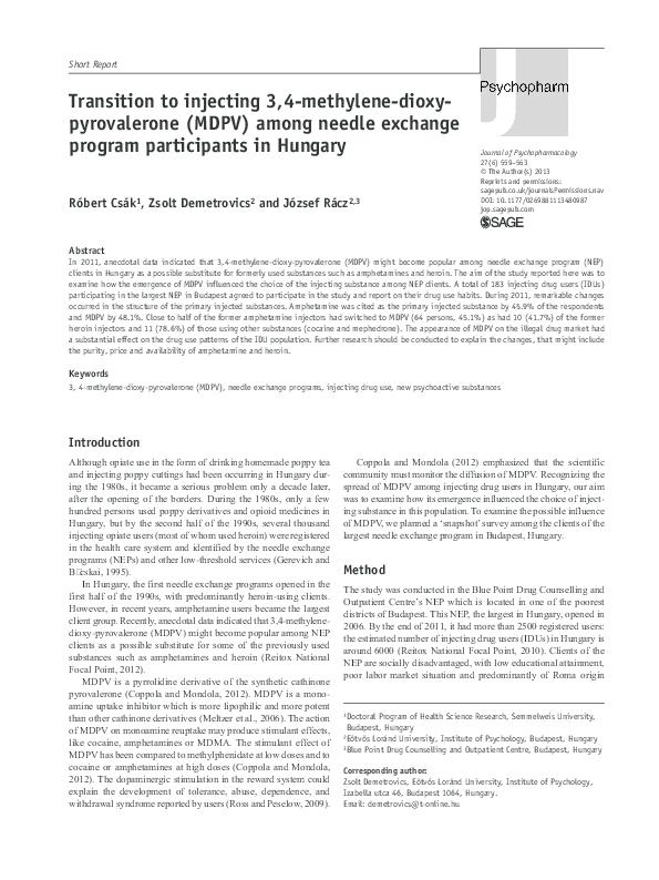 PDF) Transition to injecting 3,4-methylene-dioxy
